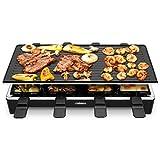 Cusimax Raclette mit 8 Pfännchen, 1500 Watt, Antihaftbeschichtung und stufenlos regulierbarer Temperatur